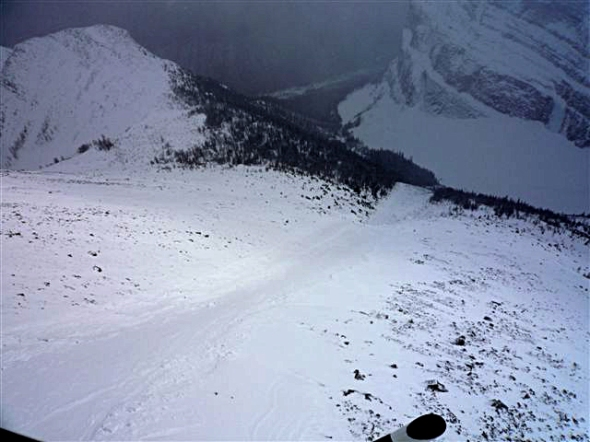 Top of the avalanche path, looking down into Sheol Valley. Skiers were just above treeline.