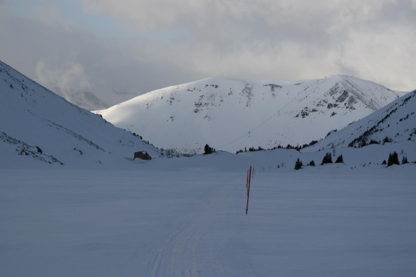 On Ptarmigan Lake, looking back at the ski area.